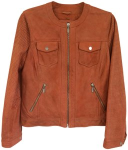 Johnston & Murphy Soft Perforated Sleeves Zippered Details Classic Classic Orange/rust Leather Jacket