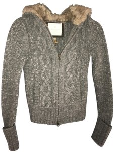 American Eagle Outfitters Faux Fur Wool Blend Full Zip Sweater
