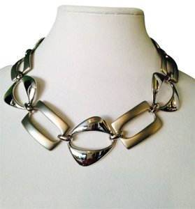 Neiman Marcus NWOT Multi Shape Mod Silver-Tone Statement Necklace