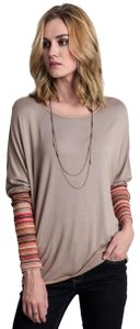 Umgee Multi Colored Striped Pullover Top Mocha/Multi-Striped