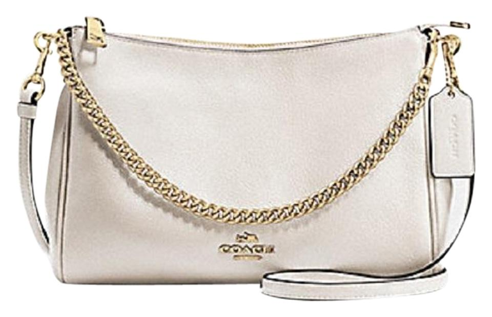 ee2ecad5ce05a Coach Carrie Polished Pebble Crossbody Chalk Bone Off White Leather  Shoulder Bag
