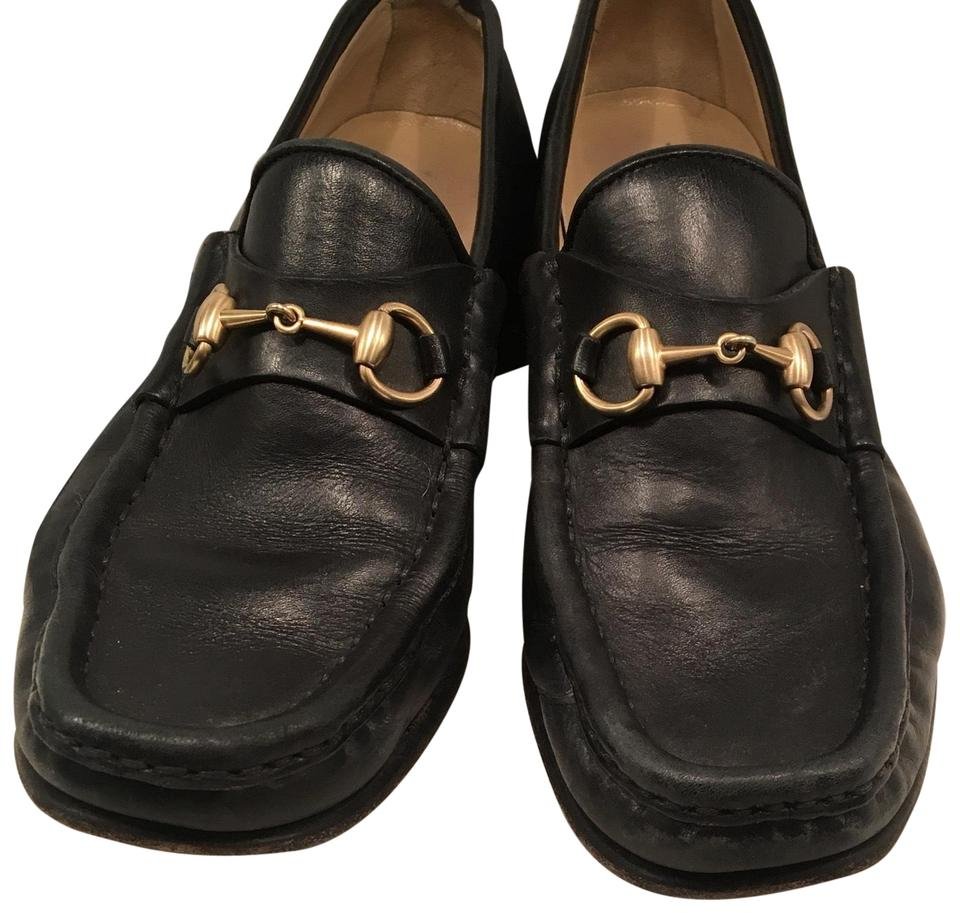 f8f74af12149 Gucci Black Gold Brown Horsebit Loafers Vegas Flats Size US 6.5 ...