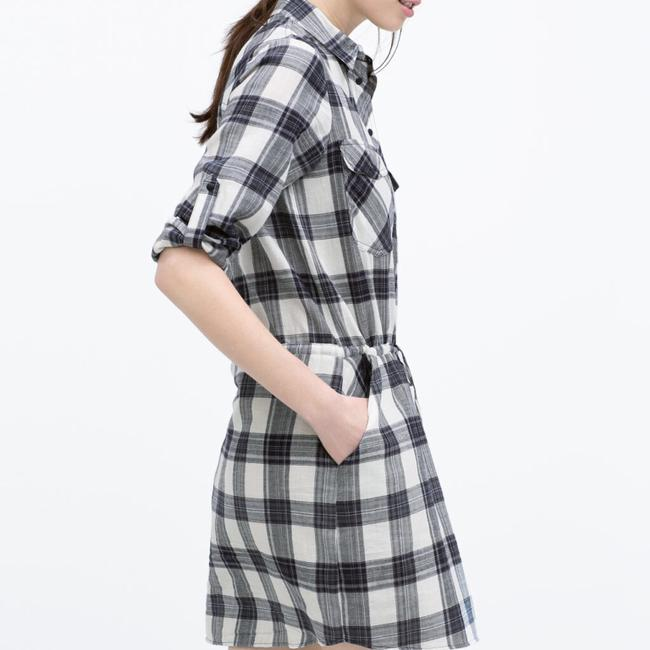 Item - Blue Multi W Gathered Waist Checked Plaid Flannel Roll Cuff Short Casual Dress Size 4 (S)
