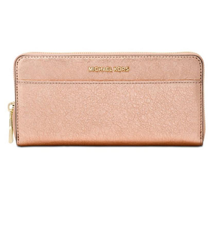 a908466f060c6 Michael Kors Soft Pink Rose Gold Metallic Embossed-leather Continental  Wallet