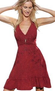 Lirome short dress Burgundy Boho Unique Embroidered Beach on Tradesy