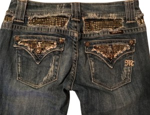 Miss Me Stretchy Rhinestones Embellished Boot Cut Jeans-Distressed