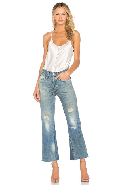 Item - Light Blue Distressed Leandra Cropped Ghost Wash Trouser/Wide Leg Jeans Size 25 (2, XS)