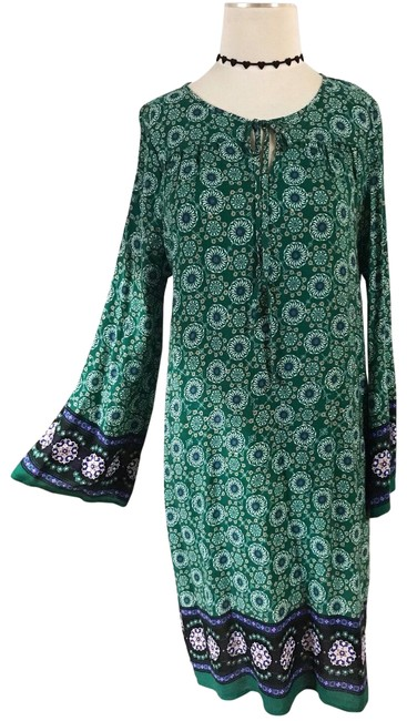 Item - Green/Blue Flared Long Sleeves Bohemian Hippie Mid-length Night Out Dress Size 8 (M)
