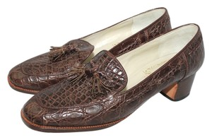 Joan & David & Made In Italy Croc Leather BROWN Flats