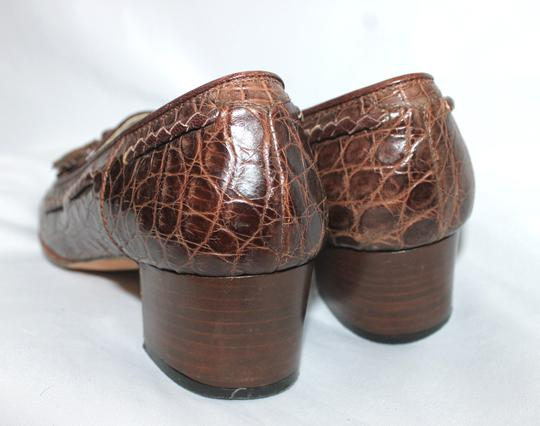 Joan & David Made In Italy Croc Leather BROWN Flats
