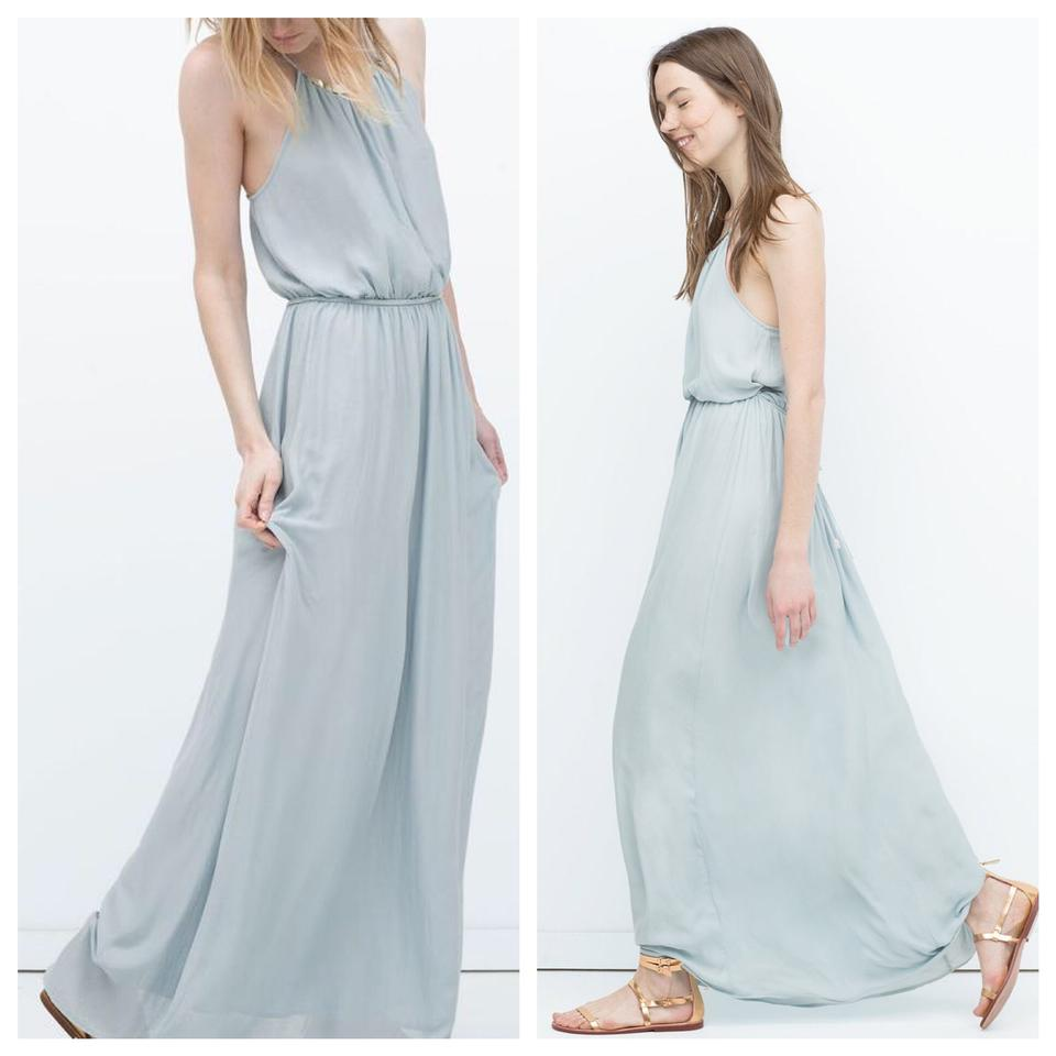 Zara Pale Blue With Appliqué At Neck Long Casual Maxi Dress Size 0 ...