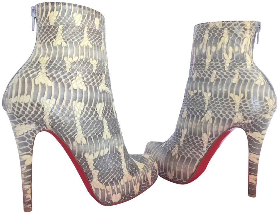 a328f59d829 Christian Louboutin Grey White Ariella Talon 36.5it Watersnake Platform High  Heel Red Lady Toe Ankle Boots Booties