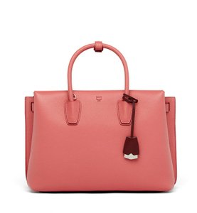 MCM Milla Leather Tote in Coral Blush