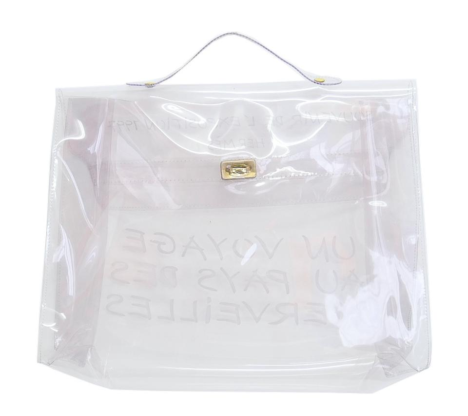 fa3548c6a8d8 Hermès Kelly Limited Edition Clear 1997 Through White Vinyl Plastic Satchel