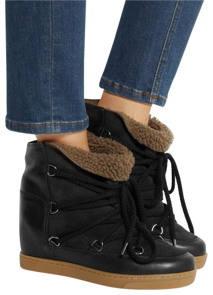 brand new 1c044 d7532 Isabel Marant Black Nowles Ankle Shearling Leather Boots/Booties Size EU 36  (Approx. US 6) Regular (M, B) 26% off retail