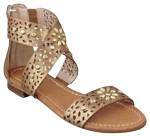 Guess By Marciano Perforated Studded Brushed gold Sandals