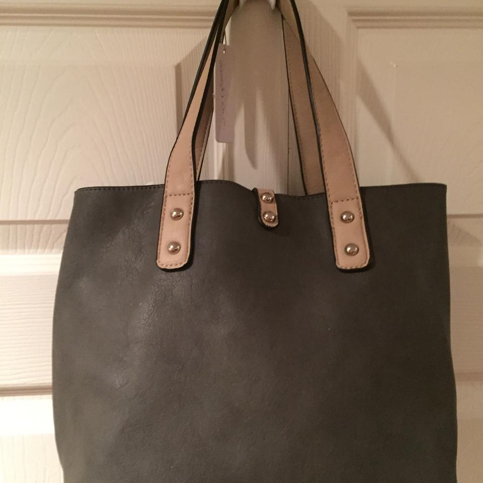 Charming Charlie Medium Gray With Light Tan Straps Leather Shoulder