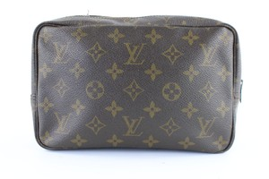 Louis Vuitton Cosmetic Make Up Toilteries Travel Unisex Brown Clutch
