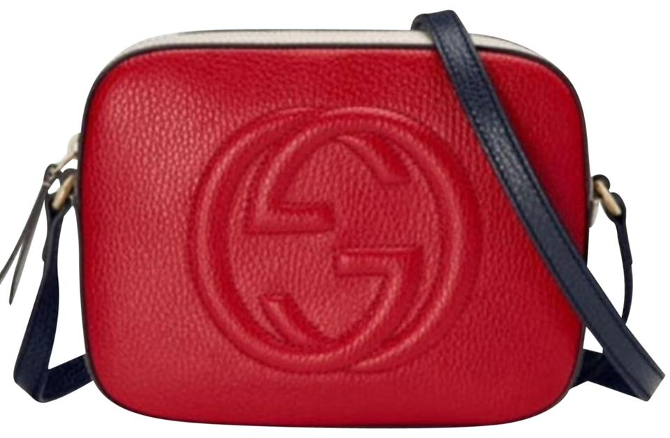 877dab9b7e Gucci Soho Nwt's 431765 Color Block Rosso Red/Med White/Blue Leather Shoulder  Bag