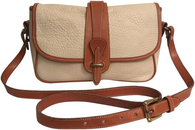 Item - Vintage Equestrian Awl Beige White Brown Leather Cross Body Bag