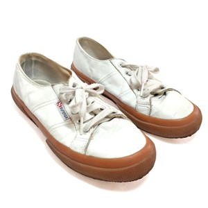 Superga Sneaker Trainers Rubber Sole Leather White, Tan Athletic