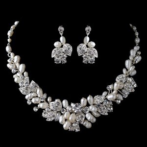 Elegance by Carbonneau Silver Freshwater Pearl and Rhinestone Jewelry Set