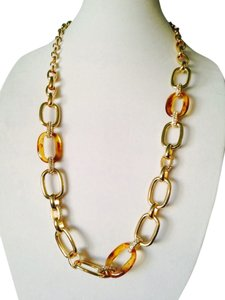 Embellished by Leecia 2-Piece Set NWOT Amber & Gold-Tone Link & Crystal Necklace & Bracelet