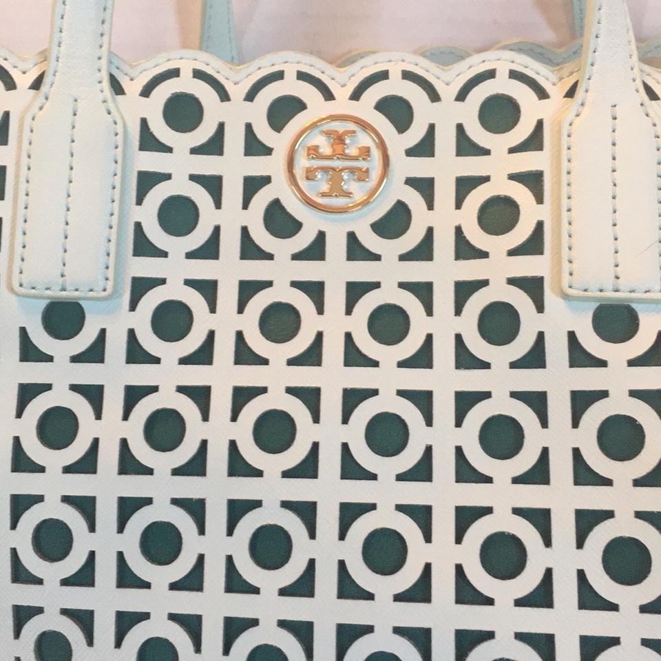 97f8b63dc6ce Tory Burch Kelsey Laser Cut East West Light Green Leather Tote - Tradesy