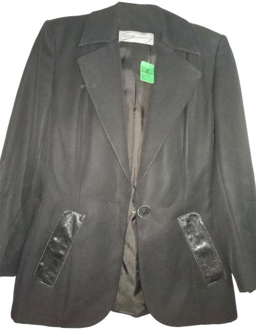 Item - Black Made In Italy with Snakeskin Texture Leather Details Blazer Size 8 (M)