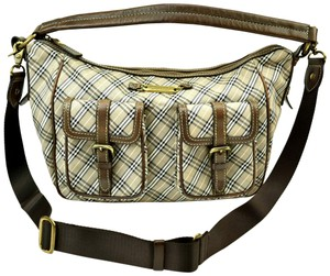 Burberry Blue Label Nova Leather Brown Check Shoulder Bag