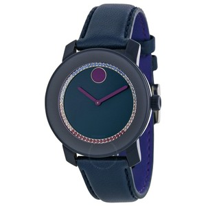 Movado Blue Leather Strap Pave Crystal Dial Bold 3600228 Watch