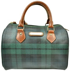 b30b572ca88b Polo Ralph Lauren Brown Leather Logo Bowling Tote in Tartan Green