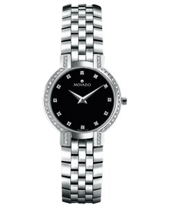 Movado Movado Faceto Diamond Steel Ladies Watch 0605586