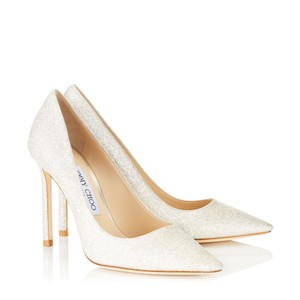 Jimmy Choo Crystal Platinum Ice Dusty Glitter Pumps