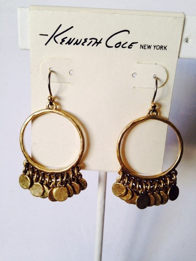 Kenneth Cole NWOT Antiqued Matt Gold-Tone Shaky Circle Earrings