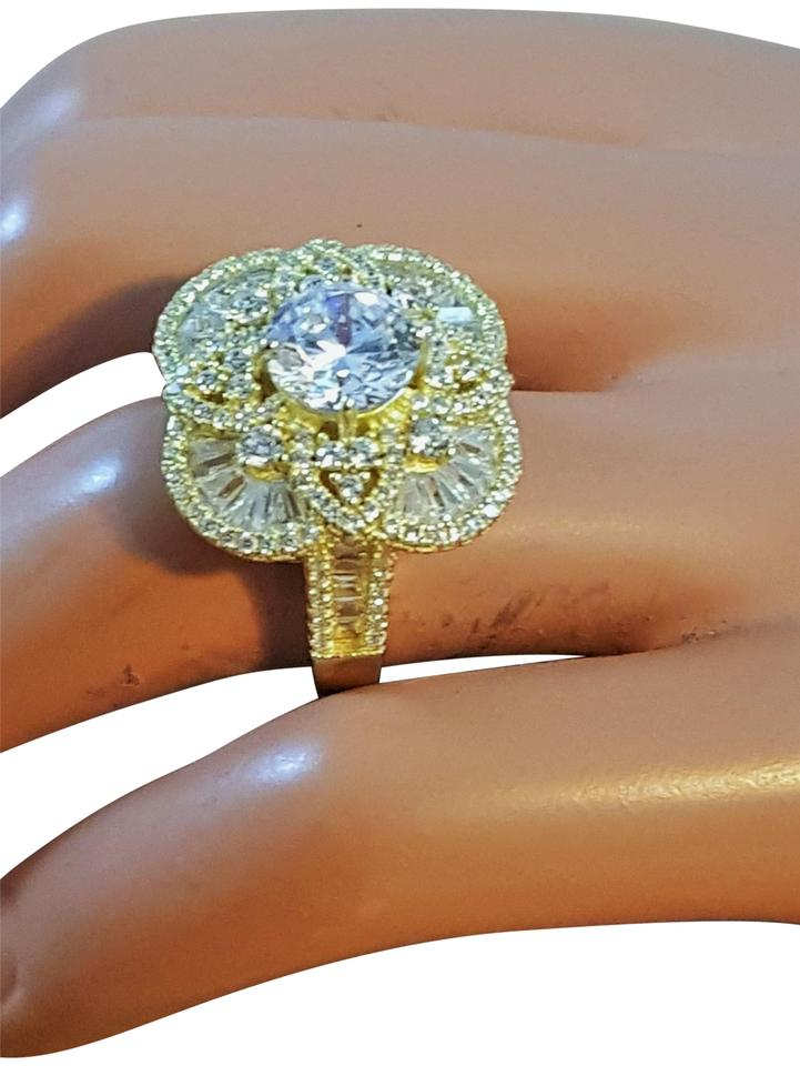 Sterling Silver Gold Plated  Cn-fzn-sterling-silver-with-gold-plating-cocktail-ring-cz-size-8 Ring 48%  off retail