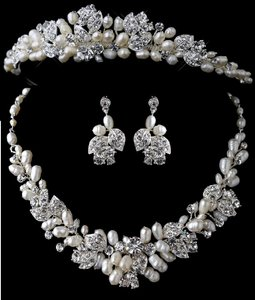Elegance By Carbonneau Freshwater Pearl Wedding Tiara And Jewelry Set
