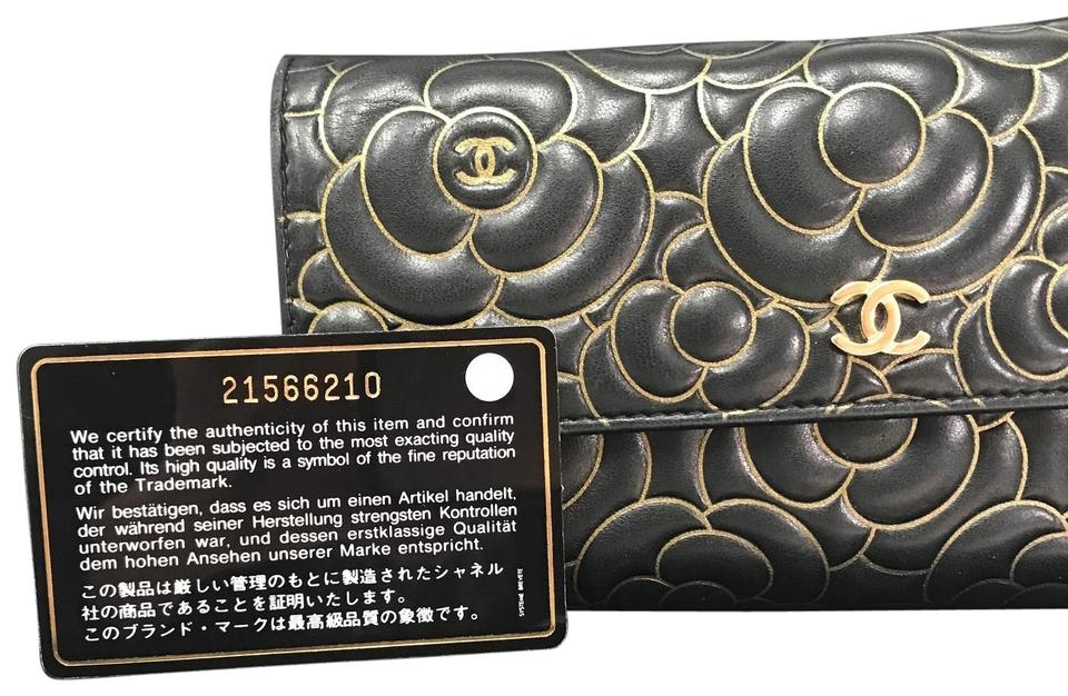 6f3ccb146476 Chanel Black/Gold Camellia & Floral Embossed Lambskin Flap Wallet ...