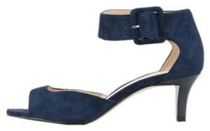 Pelle Moda Kitten Heel Suede Blue Pumps