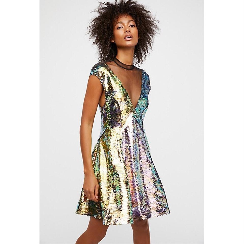 494f6e8f94ab Free People New Mermaid Combo Dance Til Dawn Green Sequin Short Night Out  Dress Size 4 (S) - Tradesy