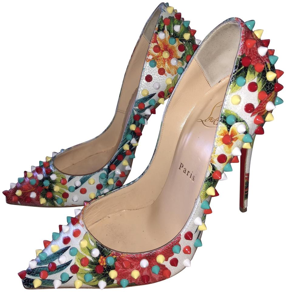 2a3362185c4c Christian Louboutin Multicolor Follies Spikes 120 Hawaii Floral Studded  38.5 Pumps