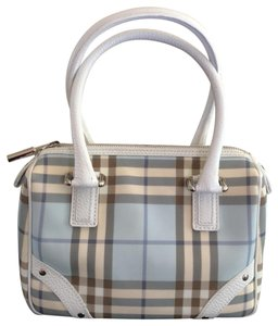 Burberry Mini Satchel in soft baby blue and white