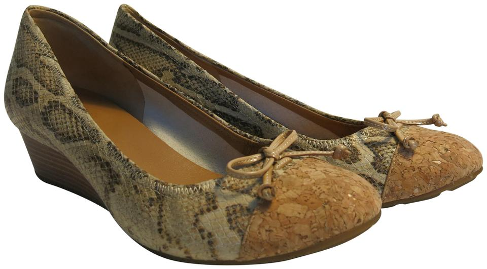 891f3dcfa799 Cole Haan Cream Snake Print Air Tali Lace Wedges Size US 8.5 Regular ...