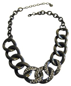 """R.J. Graziano R. J. Graziano Gunmetal Pave Bold Oval Chain-Link 17' Necklace with 5"""" Extender"""