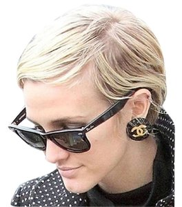 Chanel Vintage Quilted Gold CC Clip on Earrings as seen on Ashlee Simpson