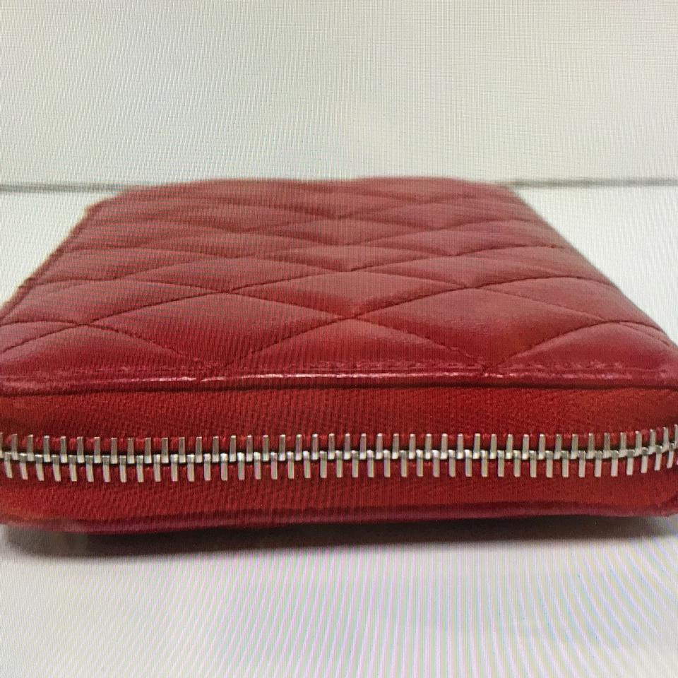 Chanel Red Quilted Caviar Lambskin Long Zip Wallet Tradesy