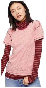 Free People Bunny Thumbs T Shirt Color Name Is: Washed Red Combo