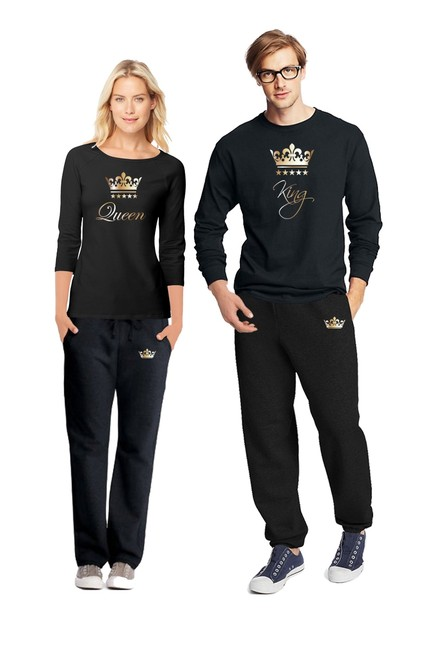 Item - Black Gold New Pajama Set For Men and Women His and Her Matching Pjs King & Queen Other