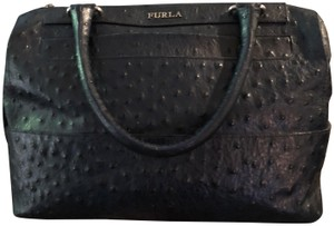 Furla Leather Alligator Satchel in Navy