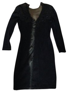 Carmen Marc Valvo Beaded Shirt Formal Designer Knit Beaded Above Knee Sexy Sheer Top Knits Formal Wear Dress